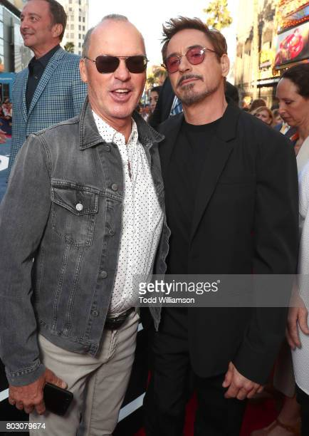 Michael Keaton and Robert Downey Jr attend the premiere of Columbia Pictures' 'SpiderMan Homecoming' at TCL Chinese Theatre on June 28 2017 in...