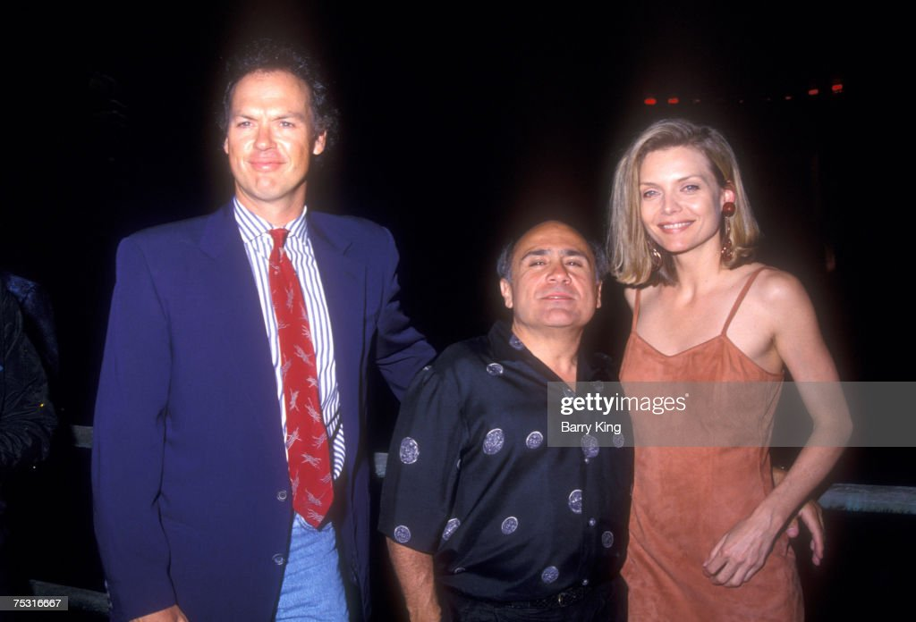 <a gi-track='captionPersonalityLinkClicked' href=/galleries/search?phrase=Michael+Keaton&family=editorial&specificpeople=206869 ng-click='$event.stopPropagation()'>Michael Keaton</a>, Danny DeVito and Michelle Pfeiffer at World Premiere of 'Batman Returns' at Mann's Chinese Theatre in Hollywood, California on June 16, 1992