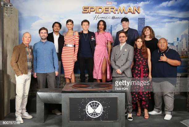 Michael Keaton Jon Watts Tony Revolori Zendaya Tom Holland Laura Harrier Robert Downey Jr Kevin Feige Marisa Tomei Amy Pascal and Jacob Batalon...