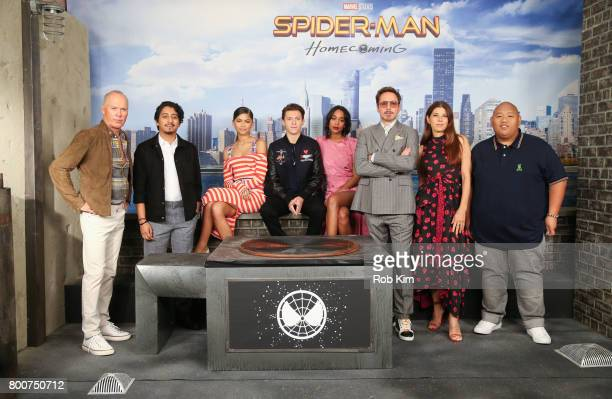 Michael Keaton Tony Revolori Zendaya Tom Holland Laura Harrier Robert Downey Jr Marisa Tomei and Jacob Batalon attend the 'SpiderMan Homecoming'...