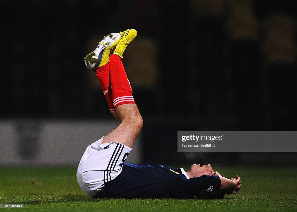 Michael Kelly of Scotland shows his dissapointment after losing the The Sky Sport Victory Shield match between England u16 and Scotland u16 at Pirelli Stadium on November 29, 2012 in Burton-upon-Trent, England.