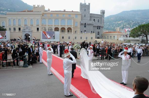 Michael Kenneth Wittstock and Princess Charlene of Monaco arrive at the religious ceremony of the Royal Wedding of Prince Albert II of Monaco to...