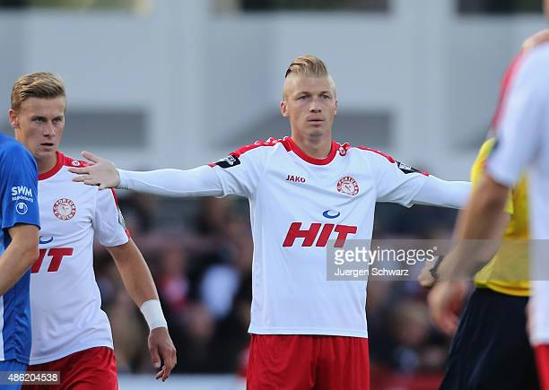 Michael Kessel of Cologne spreads his arms during the third Bundesliga match between Fortuna Koeln and 1 FC Magdeburg on August 28 2015 in Cologne...