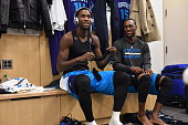 Michael KiddGilchrist and Kemba Walker of the Charlotte Hornets before the game in the locker roomon November 2 2014 at Madison Square Garden in New...