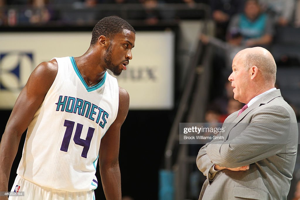 Michael KiddGilchrist has a word with head coach Steve Clifford of the Charlotte Hornets during the game against the Utah Jazz at the Time Warner...