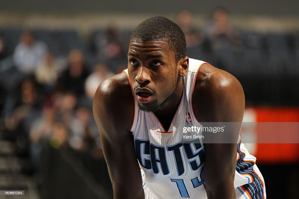 <a gi-track='captionPersonalityLinkClicked' href=/galleries/search?phrase=Michael+Kidd-Gilchrist&family=editorial&specificpeople=8526214 ng-click='$event.stopPropagation()'>Michael Kidd-Gilchrist</a> #14 of the Charlotte Bobcats awaits a foul shot against the Atlanta Hawks at the Time Warner Cable Arena on January 23, 2013 in Charlotte, North Carolina.