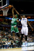 Michael KiddGilchrist of the Charlotte Bobcats blocks Gerald Wallace of the Boston Celtics from behind during their game at Time Warner Cable Arena...
