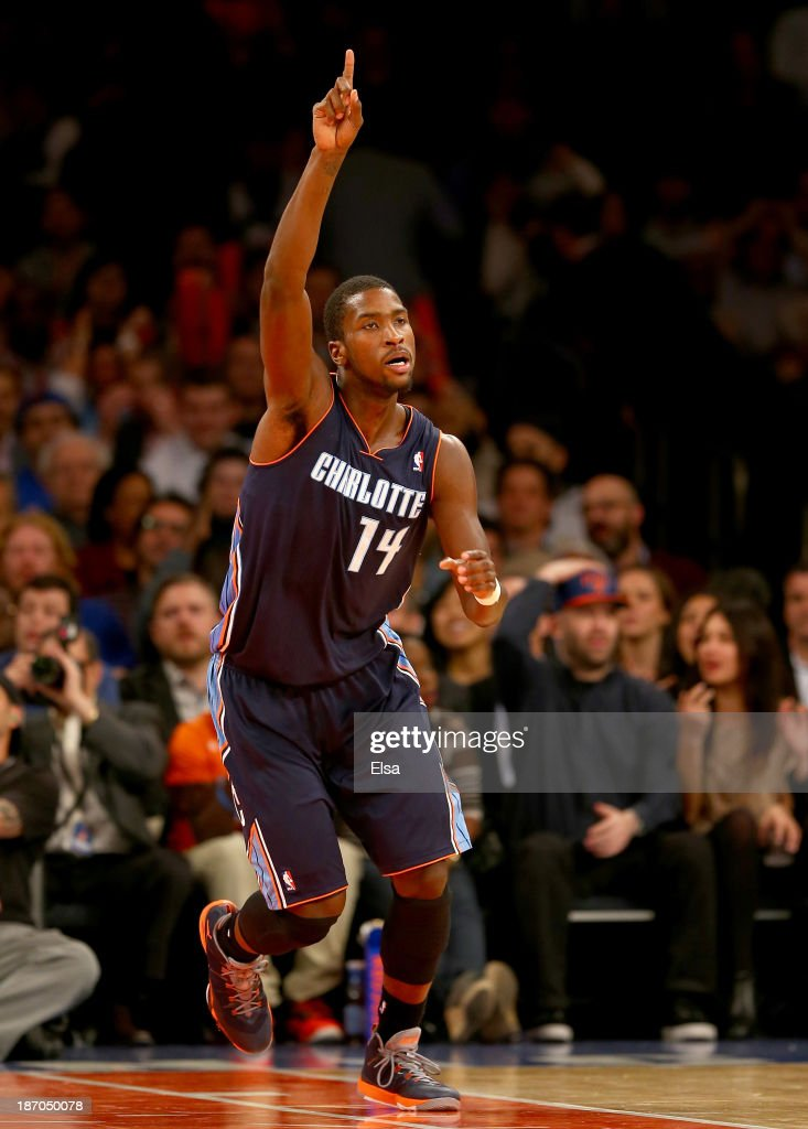 <a gi-track='captionPersonalityLinkClicked' href=/galleries/search?phrase=Michael+Kidd-Gilchrist&family=editorial&specificpeople=8526214 ng-click='$event.stopPropagation()'>Michael Kidd-Gilchrist</a> #14 of the Charlotte Bobcats celebrates in the fourth quarter against the New York Knicks at Madison Square Garden on November 5, 2013 in New York City.The Charlotte Bobcats defeated the New York Knicks 102-97.