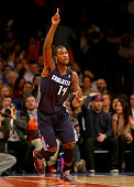 Michael KiddGilchrist of the Charlotte Bobcats celebrates in the fourth quarter against the New York Knicks at Madison Square Garden on November 5...