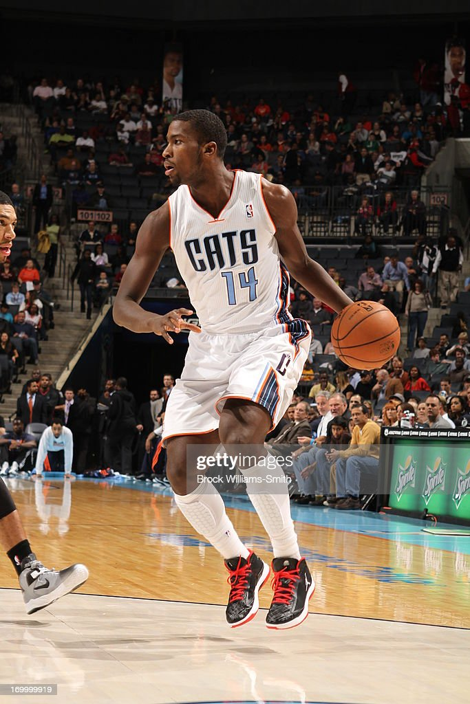 Michael Kidd-Gilchrist #14 of the Charlotte Bobcats dribbles the ball against the San Antonio Spurs at the Time Warner Cable Arena on December 8, 2012 in Charlotte, North Carolina.