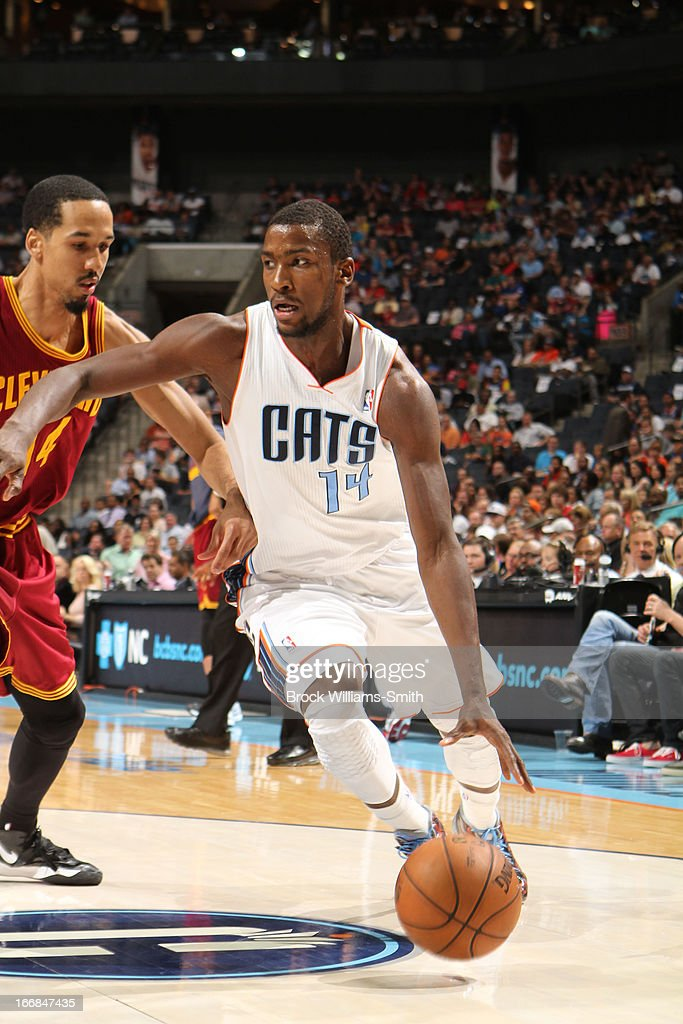 Michael Kidd-Gilchrist #14 of the Charlotte Bobcats drives against Shaun Livingston #14 of the Cleveland Cavaliers at the Time Warner Cable Arena on April 17, 2013 in Charlotte, North Carolina.