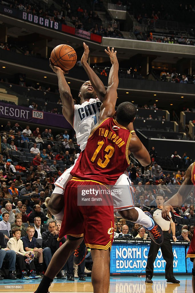 Michael Kidd-Gilchrist #14 of the Charlotte Bobcats drives to the basket against Tristan Thompson #13 of the Cleveland Cavaliers at the Time Warner Cable Arena on January 4, 2013 in Charlotte, North Carolina.
