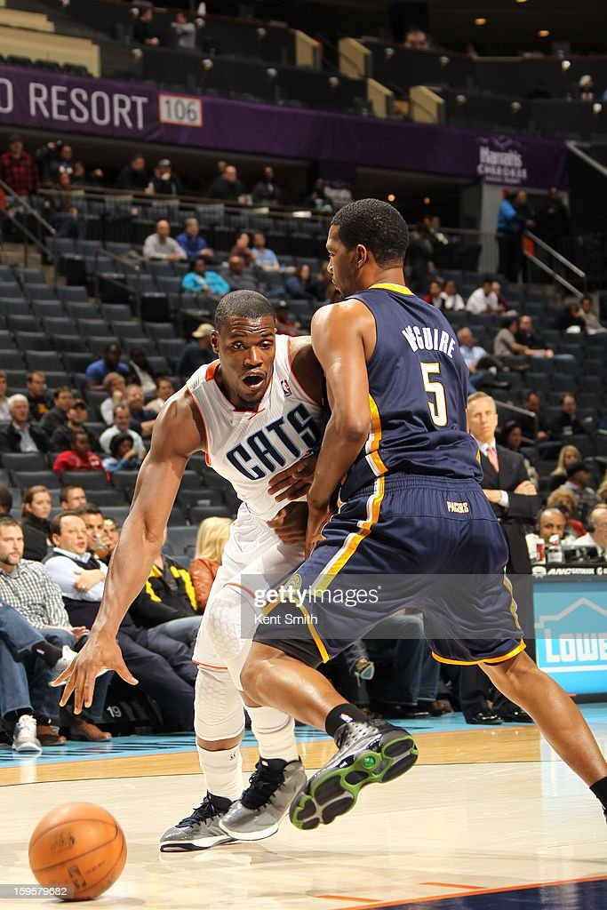 Michael Kidd-Gilchrist #14 of the Charlotte Bobcats drives to the basket against the Indiana Pacers at the Time Warner Cable Arena on January 15, 2013 in Charlotte, North Carolina.
