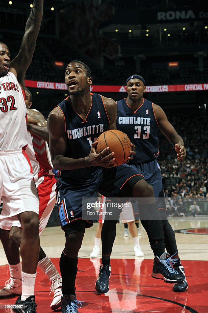 Michael Kidd-Gilchrist #14 of the Charlotte Bobcats drives to the basket against the Toronto Raptors on January 11, 2013 at the Air Canada Centre in Toronto, Ontario, Canada.