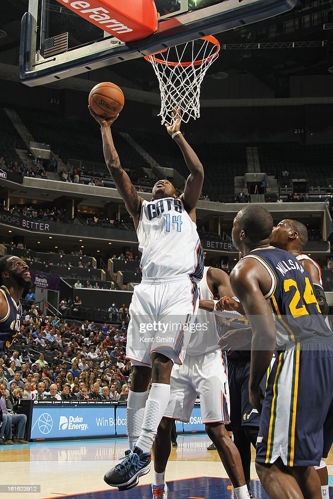 Michael Kidd-Gilchrist #14 of the Charlotte Bobcats drives to the basket against the Utah Jazz at the Time Warner Cable Arena on January 9, 2013 in Charlotte, North Carolina.