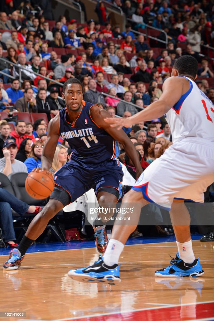 <a gi-track='captionPersonalityLinkClicked' href=/galleries/search?phrase=Michael+Kidd-Gilchrist&family=editorial&specificpeople=8526214 ng-click='$event.stopPropagation()'>Michael Kidd-Gilchrist</a> #14 of the Charlotte Bobcats drives to the basket against the Philadelphia 76ers at the Wells Fargo Center on February 9, 2013 in Philadelphia, Pennsylvania.