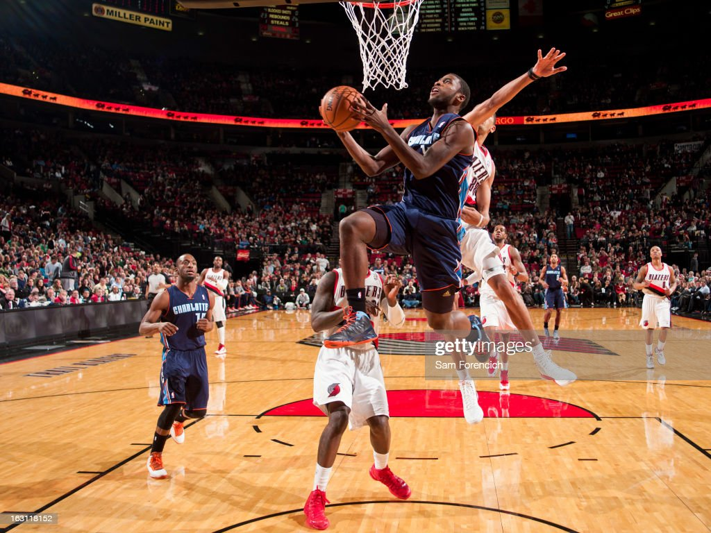 Michael Kidd-Gilchrist #14 of the Charlotte Bobcats drives to the basket against the Portland Trail Blazers on March 4, 2013 at the Rose Garden Arena in Portland, Oregon.
