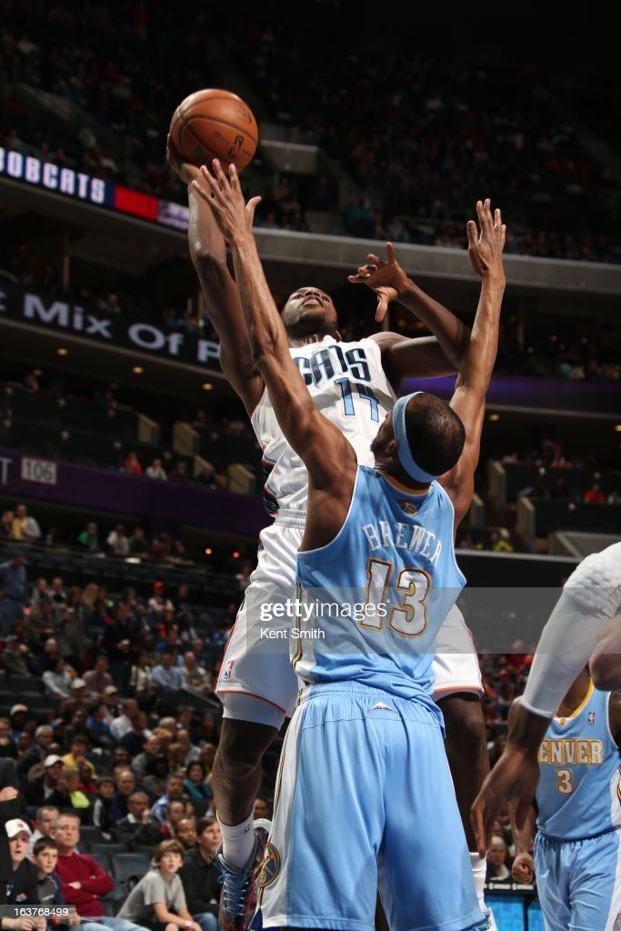 Michael Kidd-Gilchrist #14 of the Charlotte Bobcats drives to the basket against the Denver Nuggets at the Time Warner Cable Arena on February 23, 2013 in Charlotte, North Carolina.
