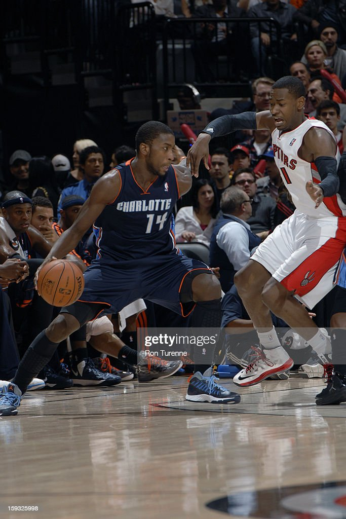 Michael Kidd-Gilchrist #14 of the Charlotte Bobcats drives to the hole against the Toronto Raptors during the game on January 11, 2013 at the Air Canada Centre in Toronto, Ontario, Canada.