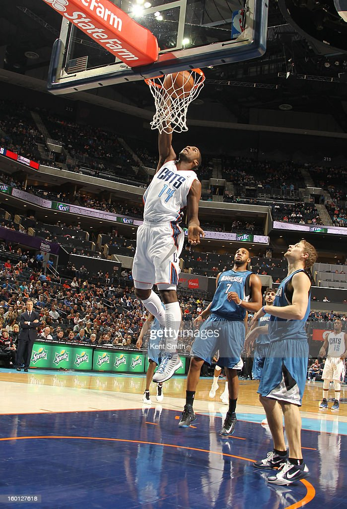 Michael Kidd-Gilchrist #14 of the Charlotte Bobcats dunks against the Minnesota Timberwolves at the Time Warner Cable Arena on January 26, 2013 in Charlotte, North Carolina.