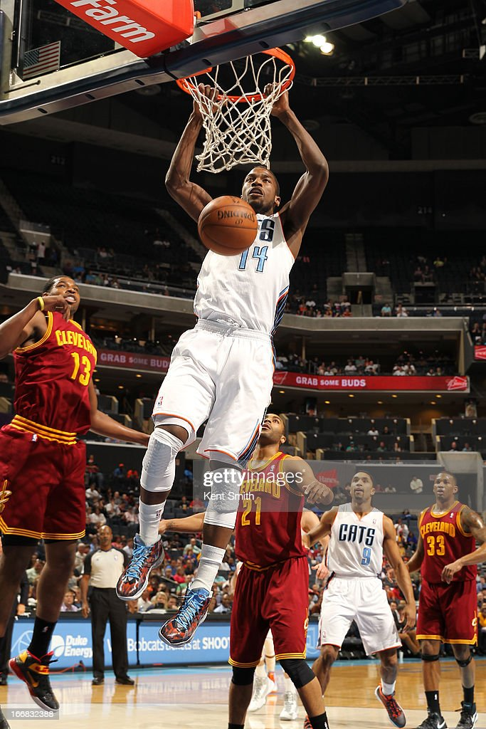 Michael Kidd-Gilchrist #14 of the Charlotte Bobcats dunks against the Cleveland Cavaliers at the Time Warner Cable Arena on April 17, 2013 in Charlotte, North Carolina.