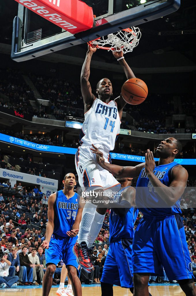 <a gi-track='captionPersonalityLinkClicked' href=/galleries/search?phrase=Michael+Kidd-Gilchrist&family=editorial&specificpeople=8526214 ng-click='$event.stopPropagation()'>Michael Kidd-Gilchrist</a> #14 of the Charlotte Bobcats dunks the ball against the Dallas Mavericks at Time Warner Cable Arena on November 10, 2012 in Charlotte, North Carolina.