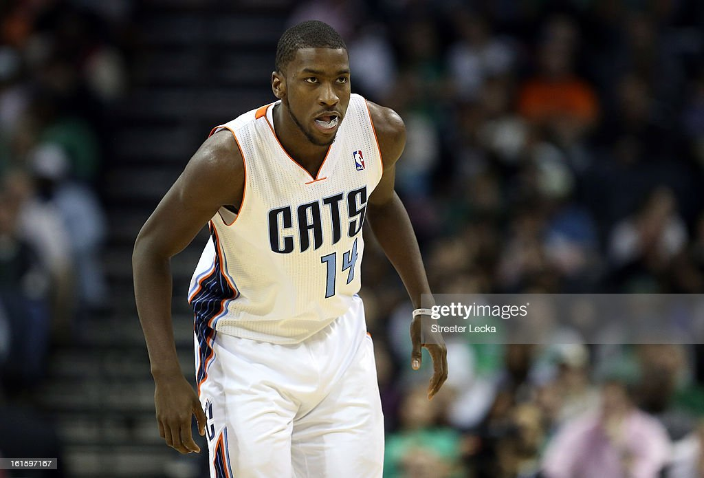 Michael Kidd-Gilchrist #14 of the Charlotte Bobcats during their game at Time Warner Cable Arena on February 11, 2013 in Charlotte, North Carolina.