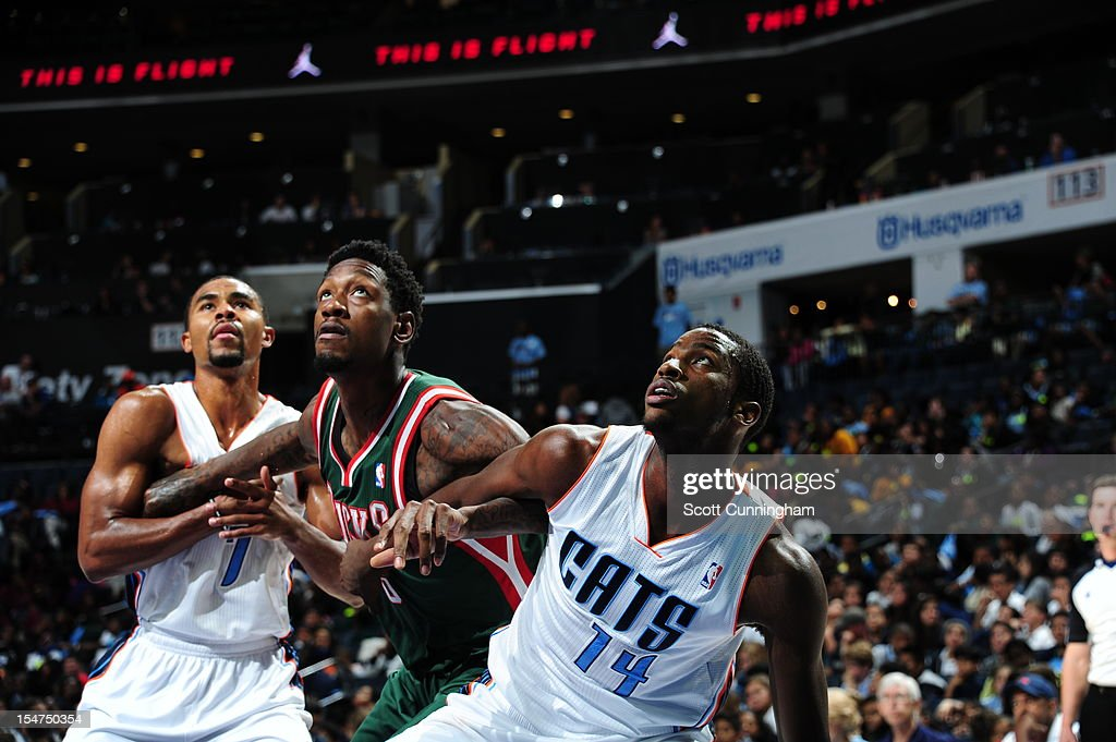 <a gi-track='captionPersonalityLinkClicked' href=/galleries/search?phrase=Michael+Kidd-Gilchrist&family=editorial&specificpeople=8526214 ng-click='$event.stopPropagation()'>Michael Kidd-Gilchrist</a> #14 of the Charlotte Bobcats fights for position against Larry Sanders #8 of the Milwaukee Bucks at the Time Warner Cable Arena on October 25, 2012 in Charlotte, North Carolina.