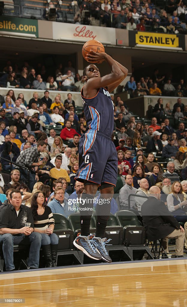Michael Kidd-Gilchrist #14 of the Charlotte Bobcats goes for a jump shot during the game between the Indiana Pacers and the Charlotte Bobcats on January 12, 2013 at Bankers Life Fieldhouse in Indianapolis, Indiana.