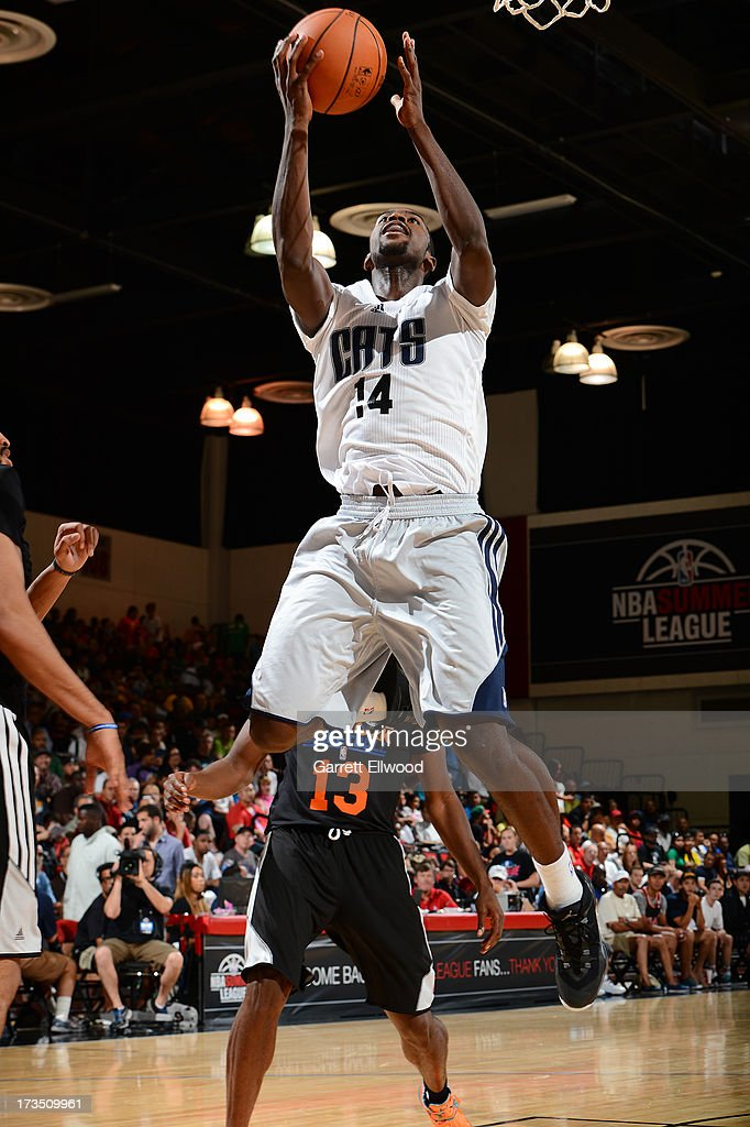Michael Kidd-Gilchrist #14 of the Charlotte Bobcats goes to the basket against the New York Knicks during NBA Summer League on July 15, 2013 at the Cox Pavilion in Las Vegas, Nevada.