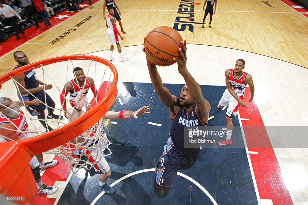 <a gi-track='captionPersonalityLinkClicked' href=/galleries/search?phrase=Michael+Kidd-Gilchrist&family=editorial&specificpeople=8526214 ng-click='$event.stopPropagation()'>Michael Kidd-Gilchrist</a> #14 of the Charlotte Bobcats goes up for a shot against the Washington Wizards at the Verizon Center on April 9, 2014 in Washington, DC.