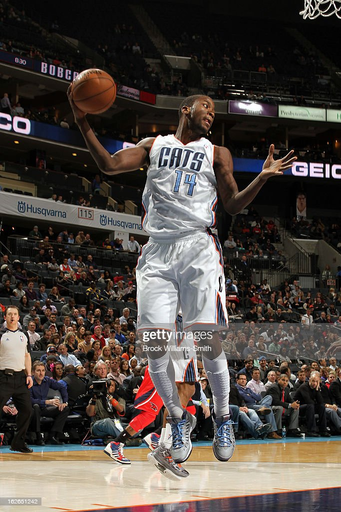 <a gi-track='captionPersonalityLinkClicked' href=/galleries/search?phrase=Michael+Kidd-Gilchrist&family=editorial&specificpeople=8526214 ng-click='$event.stopPropagation()'>Michael Kidd-Gilchrist</a> #14 of the Charlotte Bobcats grabs a rebound against the Atlanta Hawks at the Time Warner Cable Arena on January 23, 2013 in Charlotte, North Carolina.