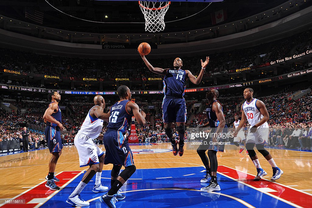 Michael Kidd-Gilchrist #14 of the Charlotte Bobcats grabs a rebound against the Philadelphia 76ers at the Wells Fargo Center on March 30, 2013 in Philadelphia, Pennsylvania.