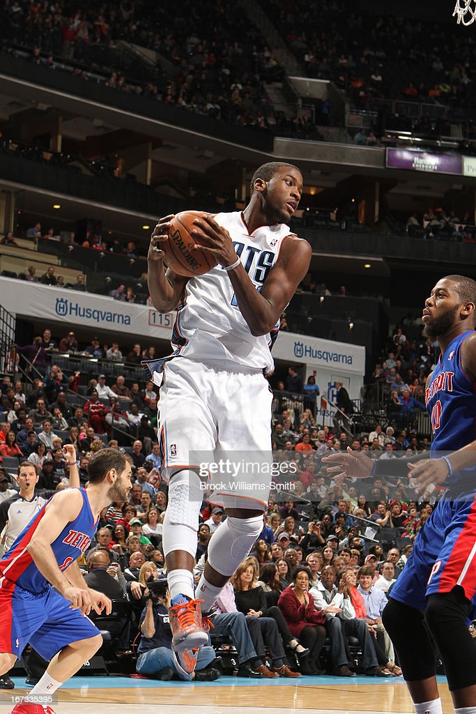<a gi-track='captionPersonalityLinkClicked' href=/galleries/search?phrase=Michael+Kidd-Gilchrist&family=editorial&specificpeople=8526214 ng-click='$event.stopPropagation()'>Michael Kidd-Gilchrist</a> #14 of the Charlotte Bobcats grabs a rebound against the Detroit Pistons at the Time Warner Cable Arena on March 23, 2013 in Charlotte, North Carolina.