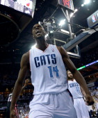 Michael KiddGilchrist of the Charlotte Bobcats reacts after scoring against the Miami Heat in Game Three of the Eastern Conference Quarterfinals...