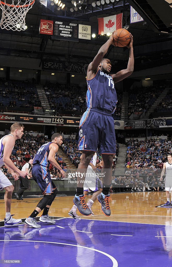 Michael Kidd-Gilchrist #14 of the Charlotte Bobcats rebounds against the Sacramento Kings on March 3, 2013 at Sleep Train Arena in Sacramento, California.