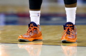 Michael KiddGilchrist of the Charlotte Bobcats shoes during their game at Time Warner Cable Arena on November 11 2013 in Charlotte North Carolina...