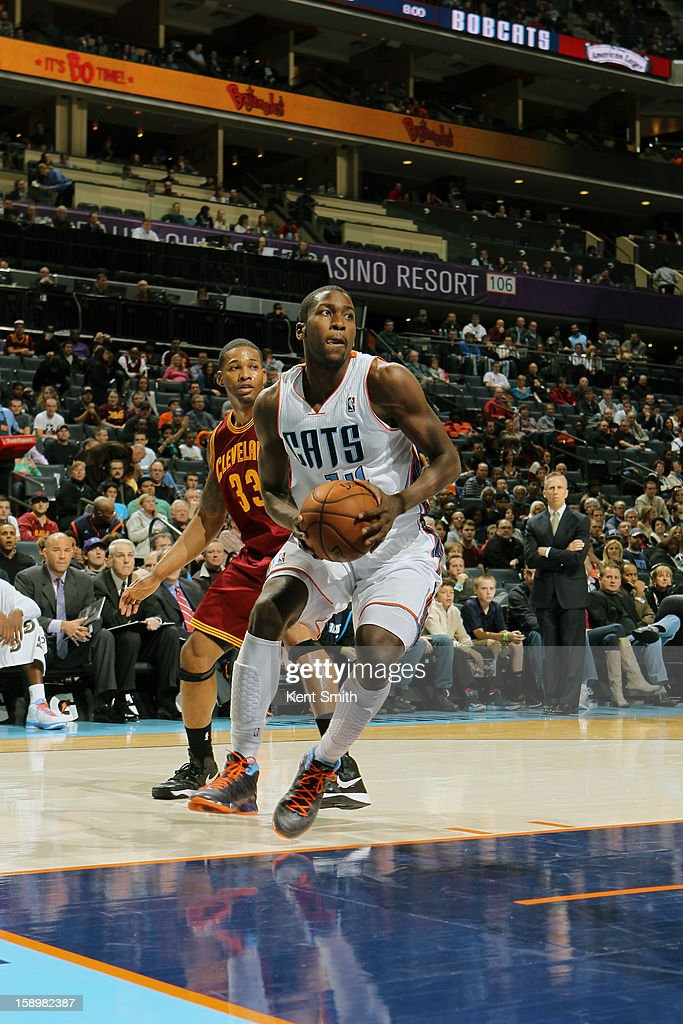 Michael Kidd-Gilchrist #14 of the Charlotte Bobcats shoots against the Cleveland Cavaliers at the Time Warner Cable Arena on January 4, 2013 in Charlotte, North Carolina.