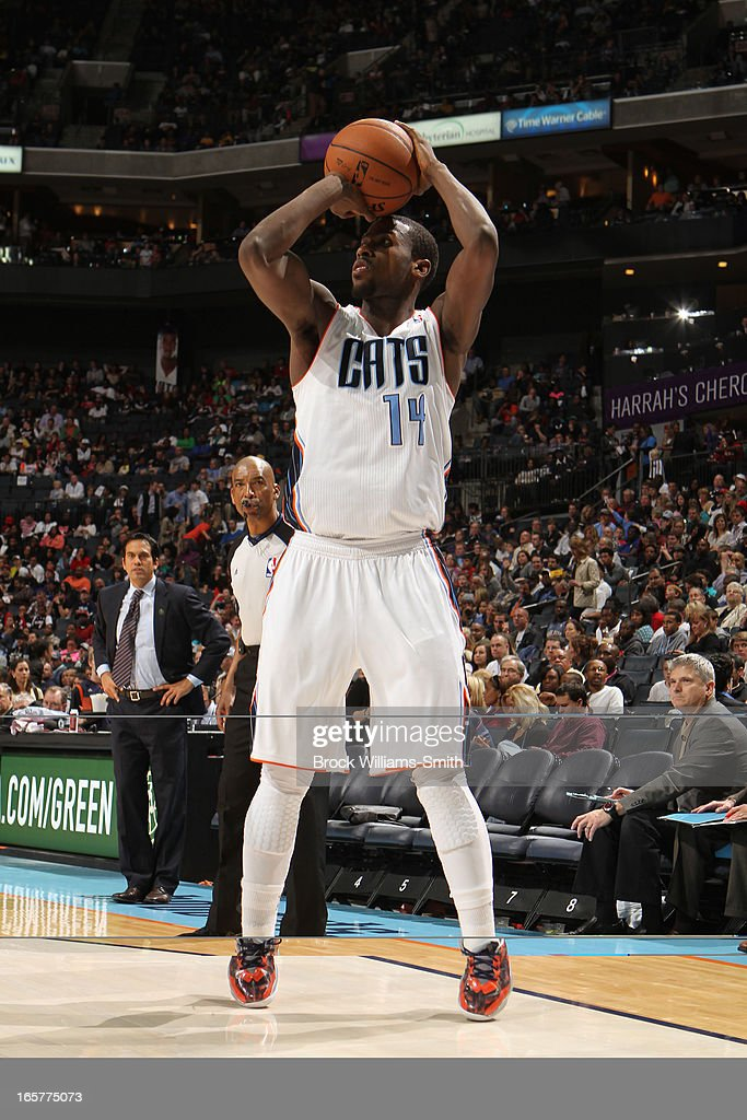 Michael Kidd-Gilchrist #14 of the Charlotte Bobcats shoots against the Miami Heat at the Time Warner Cable Arena on April 5, 2013 in Charlotte, North Carolina.