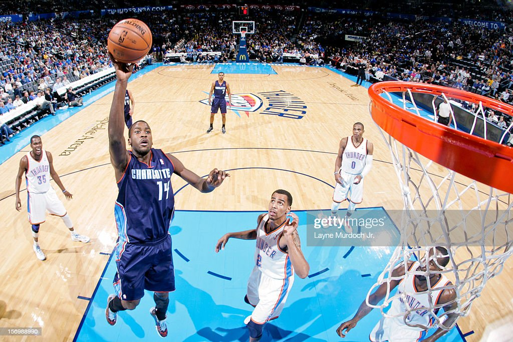 <a gi-track='captionPersonalityLinkClicked' href=/galleries/search?phrase=Michael+Kidd-Gilchrist&family=editorial&specificpeople=8526214 ng-click='$event.stopPropagation()'>Michael Kidd-Gilchrist</a> #14 of the Charlotte Bobcats shoots in the lane against the Oklahoma City Thunder on November 26, 2012 at the Chesapeake Energy Arena in Oklahoma City, Oklahoma.