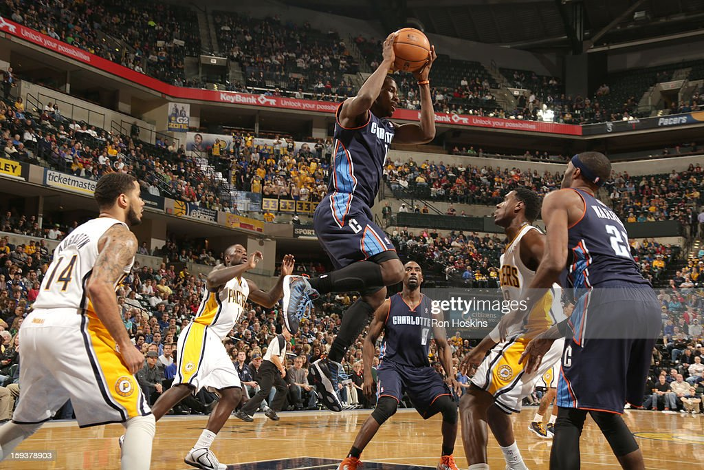 Michael Kidd-Gilchrist #14 of the Charlotte Bobcats shoots the ball during the game between the Indiana Pacers and the Charlotte Bobcats on January 12, 2013 at Bankers Life Fieldhouse in Indianapolis, Indiana.