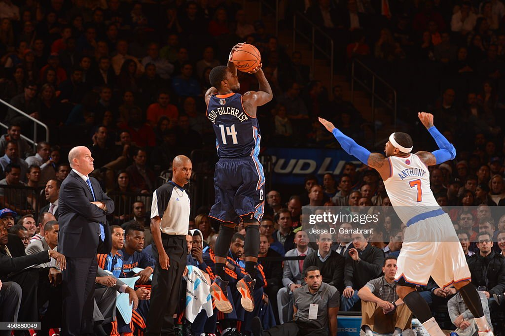 Michael Kidd-Gilchrist #14 of the Charlotte Bobcats shoots the ball against the New York Knicks during the game on November 5, 2013 at Madison Square Garden in New York City, New York.