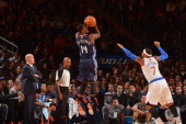 Michael KiddGilchrist of the Charlotte Bobcats shoots the ball against the New York Knicks during the game on November 5 2013 at Madison Square...