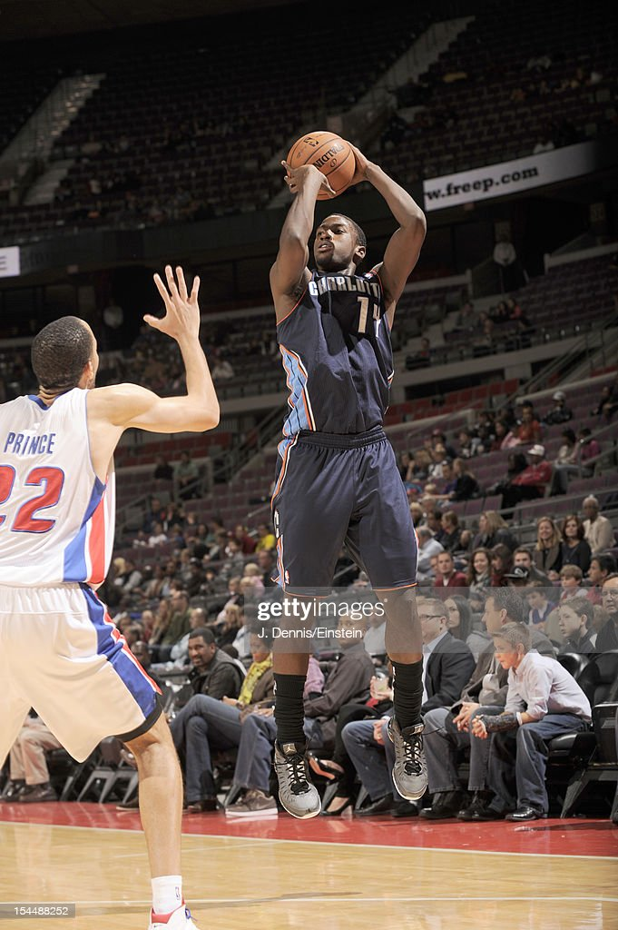 <a gi-track='captionPersonalityLinkClicked' href=/galleries/search?phrase=Michael+Kidd-Gilchrist&family=editorial&specificpeople=8526214 ng-click='$event.stopPropagation()'>Michael Kidd-Gilchrist</a> #14 of the Charlotte Bobcats shots a jump shot during the pre-season game between the Charlotte Bobcats and the Detroit Pistons on October 20, 2012 at The Palace of Auburn Hills in Auburn Hills, Michigan.