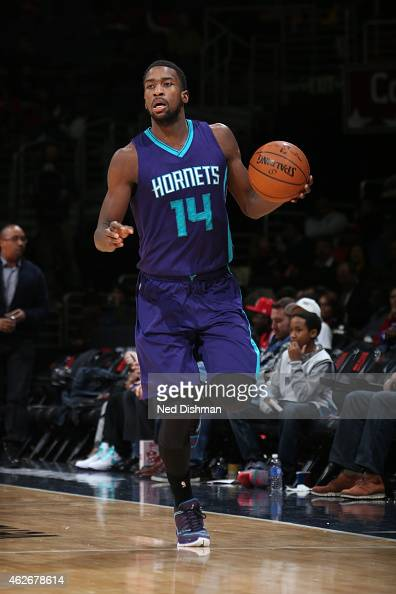 Michael KiddGilchrist of the Charlotte Hornets brings the ball up court against the Washington Wizards on February 2 2015 at the Verizon Center in...