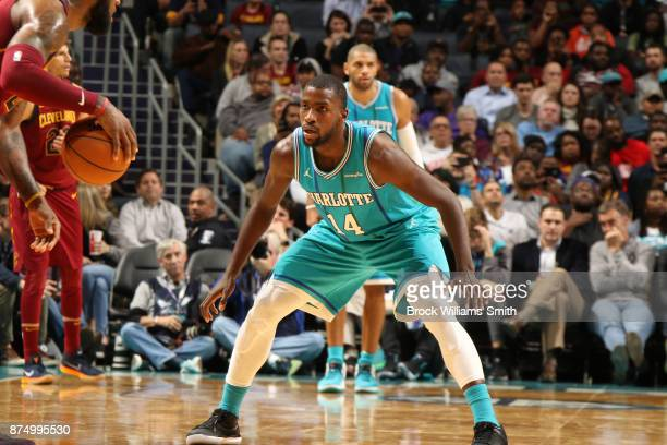 Michael KiddGilchrist of the Charlotte Hornets defends against the Cleveland Cavaliers on November 15 2017 at Spectrum Center in Charlotte North...