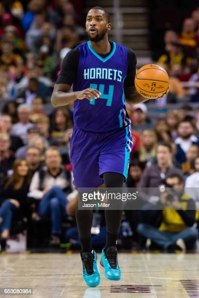 Michael KiddGilchrist of the Charlotte Hornets drives down the court during the first half against the Cleveland Cavaliers at Quicken Loans Arena on...