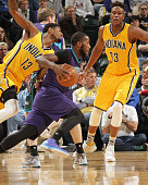 Michael KiddGilchrist of the Charlotte Hornets drives to the basket against the Indiana Pacers during the game on February 10 2016 at Bankers Life...