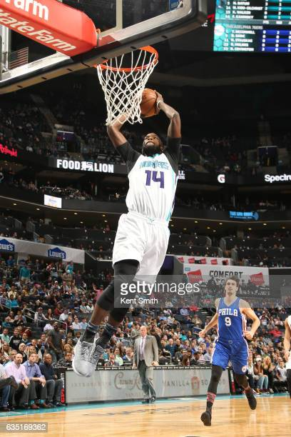 Michael KiddGilchrist of the Charlotte Hornets dunks against the Philadelphia 76ers on February 13 2017 at the Spectrum Center in Charlotte North...