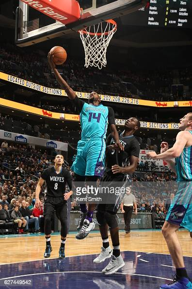 Michael KiddGilchrist of the Charlotte Hornets goes to the basket against the Minnesota Timberwolves on December 3 2016 at Spectrum Center in...